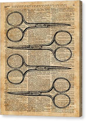 Collage Tapestries - Textiles Canvas Print - Hairdresser's Scissors Vintage Illustration Dictionary Art by Jacob Kuch
