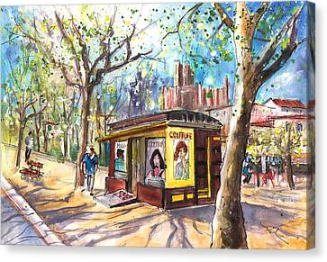 Hairdressing Al Fresco In Albi Canvas Print by Miki De Goodaboom
