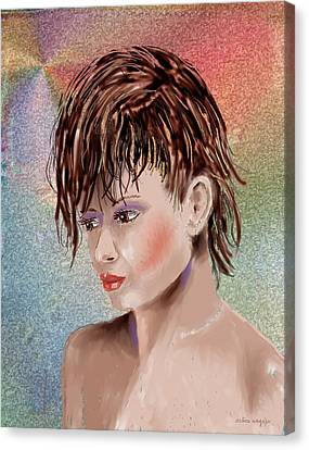Hairstyle Of Colors Canvas Print by Arline Wagner