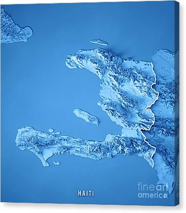 Canvas Print - Haiti 3d Render Topographic Map Blue Border by Frank Ramspott