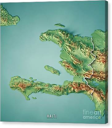 Canvas Print - Haiti 3d Render Topographic Map Border by Frank Ramspott