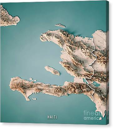 Canvas Print - Haiti 3d Render Topographic Map Neutral Border by Frank Ramspott