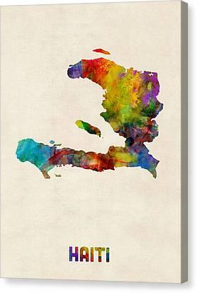 Haiti Watercolor Map Canvas Print by Michael Tompsett