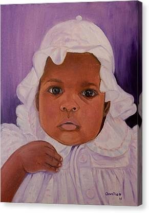 Canvas Print featuring the painting Haitian Baby Orphan by Quwatha Valentine