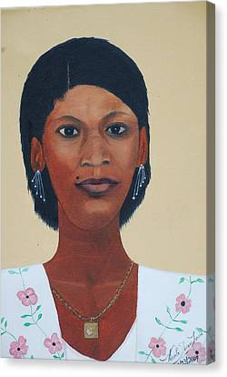 Canvas Print featuring the painting Haitian Woman Portrait by Nicole Jean-Louis