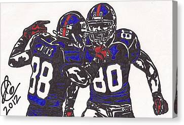 Hakeem Nicks And Victor Cruz Canvas Print by Jeremiah Colley