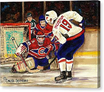 Halak Blocks Backstrom In Stanley Cup Playoffs 2010 Canvas Print by Carole Spandau