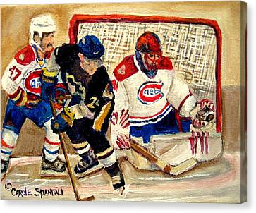 Halak Catches The Puck Stanley Cup Playoffs 2010 Canvas Print by Carole Spandau