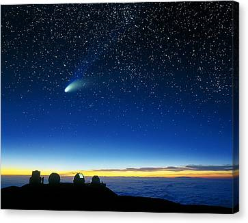 Keck Telescope Canvas Print - Hale-bopp Comet And Telescope Domes by David Nunuk