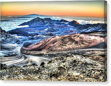 Canvas Print featuring the photograph Haleakala Crater Sunset Maui by Shawn Everhart