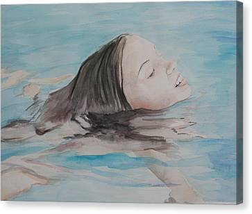 Haley In The Pool Canvas Print by Charlotte Yealey