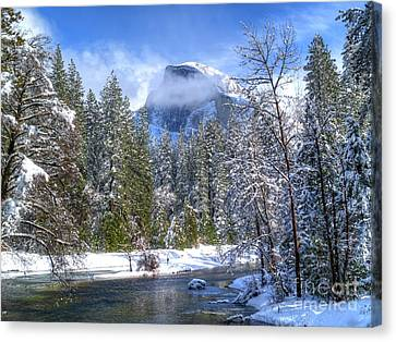 Half Dome And The Merced River Canvas Print by Bill Gallagher