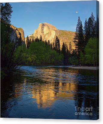 Half Dome And The Merced River With The Moon Canvas Print
