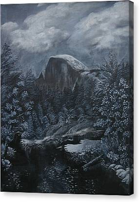 Half Dome Black And White  Canvas Print by Travis Day