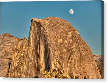 Half Dome Full Moon Rising Canvas Print by Connie Cooper-Edwards