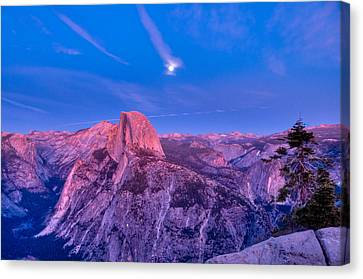 Half Dome Pink Sunset Full Moon Canvas Print