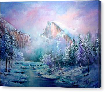 Half Dome Snow Canvas Print by Sally Seago