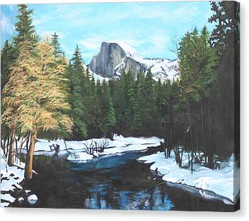 Half Dome Snow Canvas Print by Travis Day