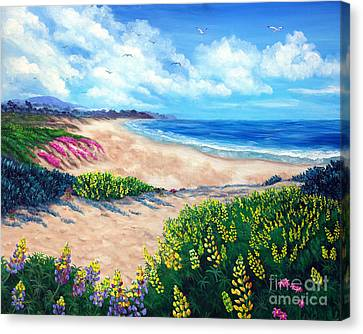 Half Moon Bay In Bloom Canvas Print by Laura Iverson