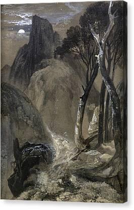 Thomas Moran Canvas Print - Half-moon Yosemite by Thomas Moran