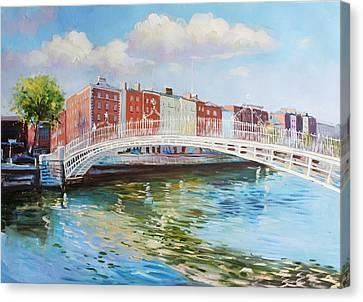 Halfpenny Bridge Canvas Print - Halfpenny Bridge Dublin by Conor McGuire