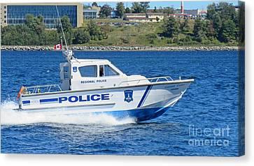 Halifax Regional Police Force Harbor Patrol Boat Canvas Print by John Malone