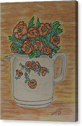 Canvas Print featuring the painting Hall China Orange Poppy And Poppies by Kathy Marrs Chandler