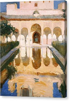 Alhambra Canvas Print - Hall Of The Embassadors Alhambra Granada by Joaquin Sorolla y Bastida