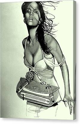 Halle Berry Drawing Canvas Print by Keeyonardo
