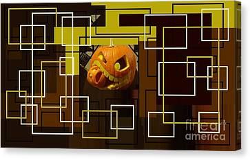 Halloween Digital Collage Canvas Print by Catherine Lott