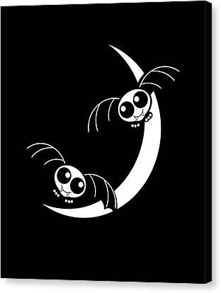 Halloween Bats And Crescent Moon Canvas Print