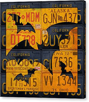 Halloween Bats Recycled Vintage License Plate Art Canvas Print by Design Turnpike