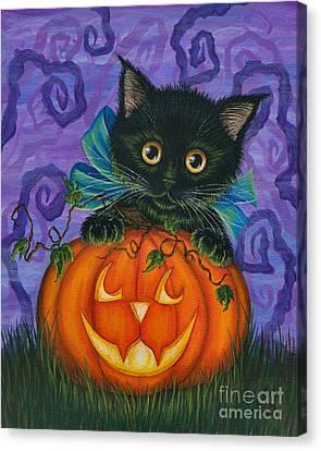 Halloween Black Kitty - Cat And Jackolantern Canvas Print