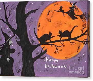 Well Endowed Canvas Print - Halloween Cat Fight by Jeffrey Koss
