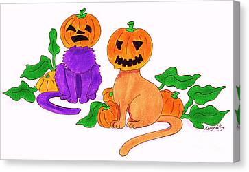 Halloween Cats Canvas Print by Michaela Bautz