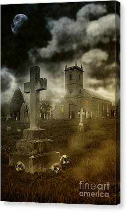 Halloween Churchyard Canvas Print