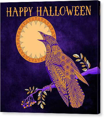 Canvas Print featuring the drawing Halloween Crow And Moon by Tammy Wetzel