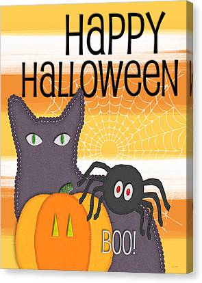 Halloween Friends- Art By Linda Woods Canvas Print by Linda Woods