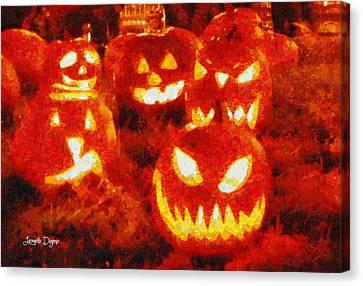 Halloween Friends - Da Canvas Print by Leonardo Digenio