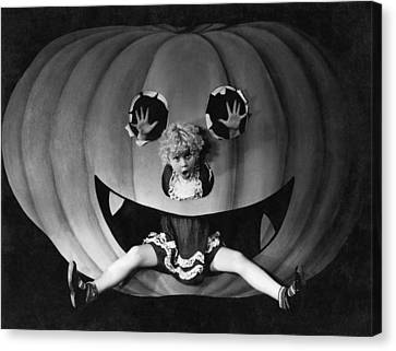 Enjoyment Canvas Print - Halloween Girl And Her Pumpkin by Underwood Archives