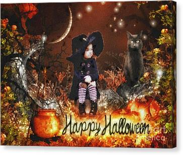 Halloween Girl Canvas Print by Mo T