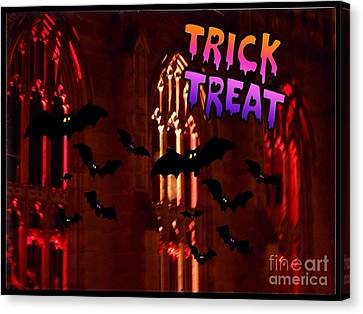 Ghostly Canvas Print - Halloween Greeting by Joan-Violet Stretch
