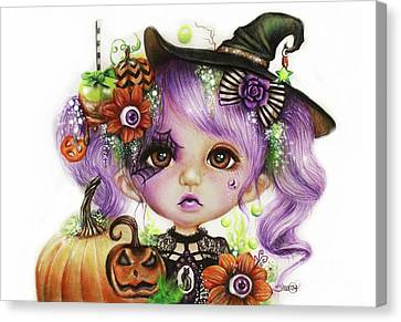 Canvas Print featuring the drawing Halloween Hannah - Munchkinz Character  by Sheena Pike