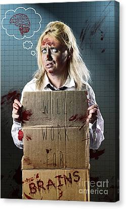 Halloween Horror Zombie With Unemployed Sign Canvas Print by Jorgo Photography - Wall Art Gallery