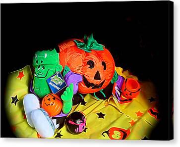 Halloween Icons Canvas Print by Linda Phelps