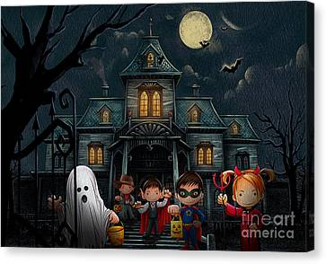 Halloween Kids Night Canvas Print by Bedros Awak