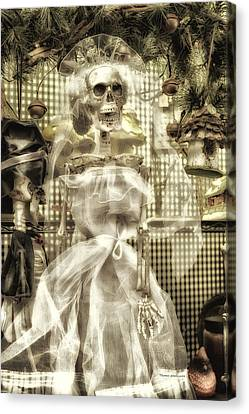 Halloween Mrs Bones The Bride Vertical Canvas Print by Thomas Woolworth