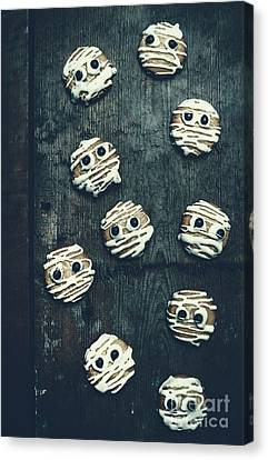 Halloween Mummy Cookies Canvas Print by Jorgo Photography - Wall Art Gallery