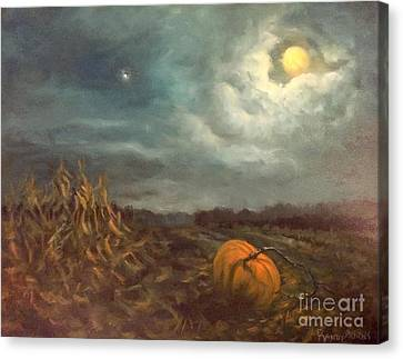 Halloween Mystery Under A Star And The Moon Canvas Print by Randy Burns