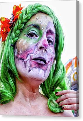 Canvas Print - Halloween New Orleans- Woman With The Green Hair by Kathleen K Parker